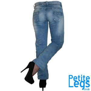Lola Crinkled Bootcut Jeans | UK Size 8 | Petite Leg Inseam Select: 24 - 29 inches | With Free Belt and Badge